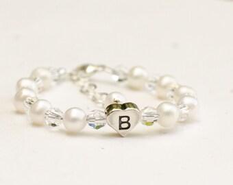 Heart initial white freshwater pearl flower girl crystal bracelet