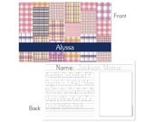 Pink madras plaid personalized placemat
