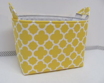 LARGE Fabric Organizer Basket Storage Container Bin Bucket Bag Diaper Holder Home Decor- Size Large - Quatrefoil in yellow