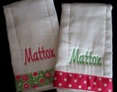 Girl's Embroidered Personalized Burp Cloth Set of 2 with Ribbon-PINK and GREEN