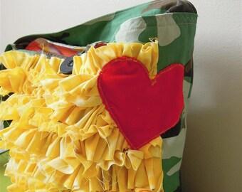 Boho Camo Ruffle Handbag/ Red Velvet Heart/ Cross Body Strap