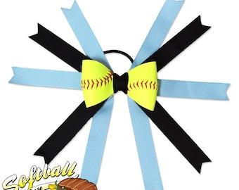 Softball Hair Bow - Carolina Blue Black
