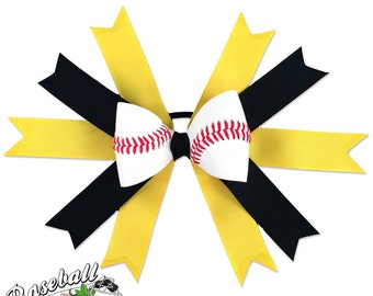 Baseball Hair Bow - Yellow Black