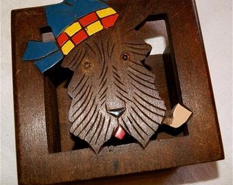 Mid Century Scotty Dog Carved Wood Match Holder