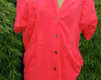 Vintage Avon Fashions Red Cotton Button Down Dress