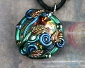 Inner Light Pendant - Vines, Leaves, Beads