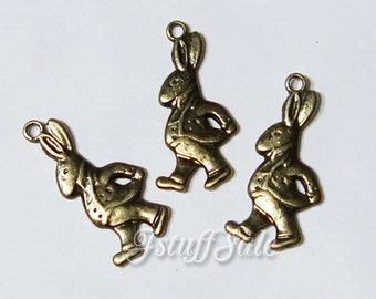 Alice in Wonderland theme Rabbit charms  - 6 pcs  Antique bronze