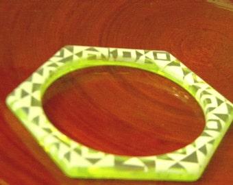 Greenish Yellow Lucite Bangle Bracelet Hexagon Vintage Bracelet