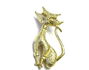 JJ Jonette Jewelry Gold tone Cat Vintage Pin