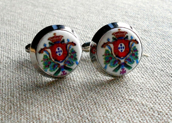 Cuff Links Portugal  Royal Seal or Brasao Men Man Luso Botoes de Punho