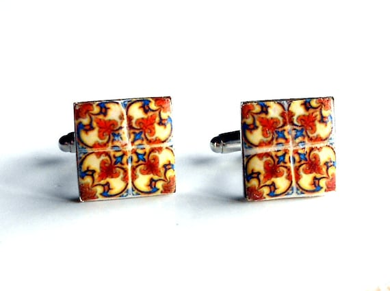 Portugal  Antique Tile Replica CUFFLINKS,  Terracotta Gold and Blue  - AVEIRO -17mm