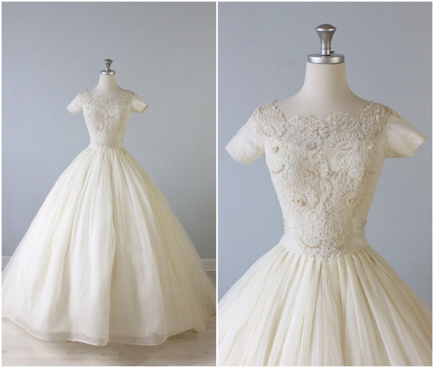 1950s Wedding Gown: RESERVED Vintage 1950s Wedding Dress / 50s Bridal Gown