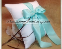 Romantic Satin Ring Bearer Pillow ...You Choose the Colors.. .Buy One Get One Half Off...shown in white/aqua/chocolate brown