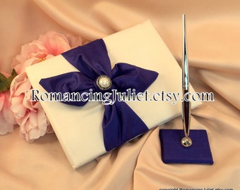 Knottie Wedding Guest Book and Pen Set with Delicate Pearl Accent...You Choose the Colors..shown in ivory/royal purple