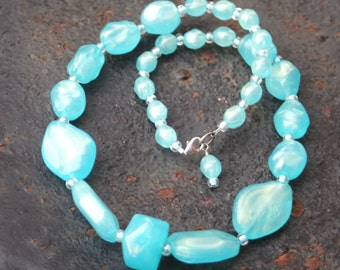 Vintage Upcycled Beaded Pearlized Turquoise Faux Rock Lucite Necklace