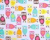 WINTER SALE - Hootie and the Blowfish - Night Owls in Carnival - 1 yard Minky - from Shannon Fabrics