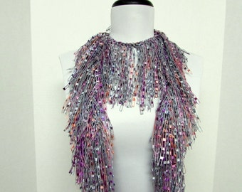 Fringe Binge Fringe Necklace Scarf  in Gray, Pink, Purple Ready to Ship Infinity Scarf Circle Scarf Knotted Scarf Crochet Scarf Multicolor