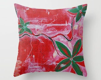 Decorative red throw pillow set, red green flower home decor cushion indoor red outdoor pillow modern paint red christmas patio pillow cover