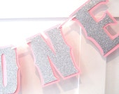 Reserved for Danielle - 1ST Birthday Highchair I AM ONE Banner - Silver Glitter on Baby Pink - Custom Colors