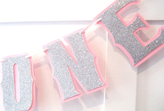 1ST Birthday Highchair I AM ONE Banner - Silver Glitter on Baby Pink - Custom Colors