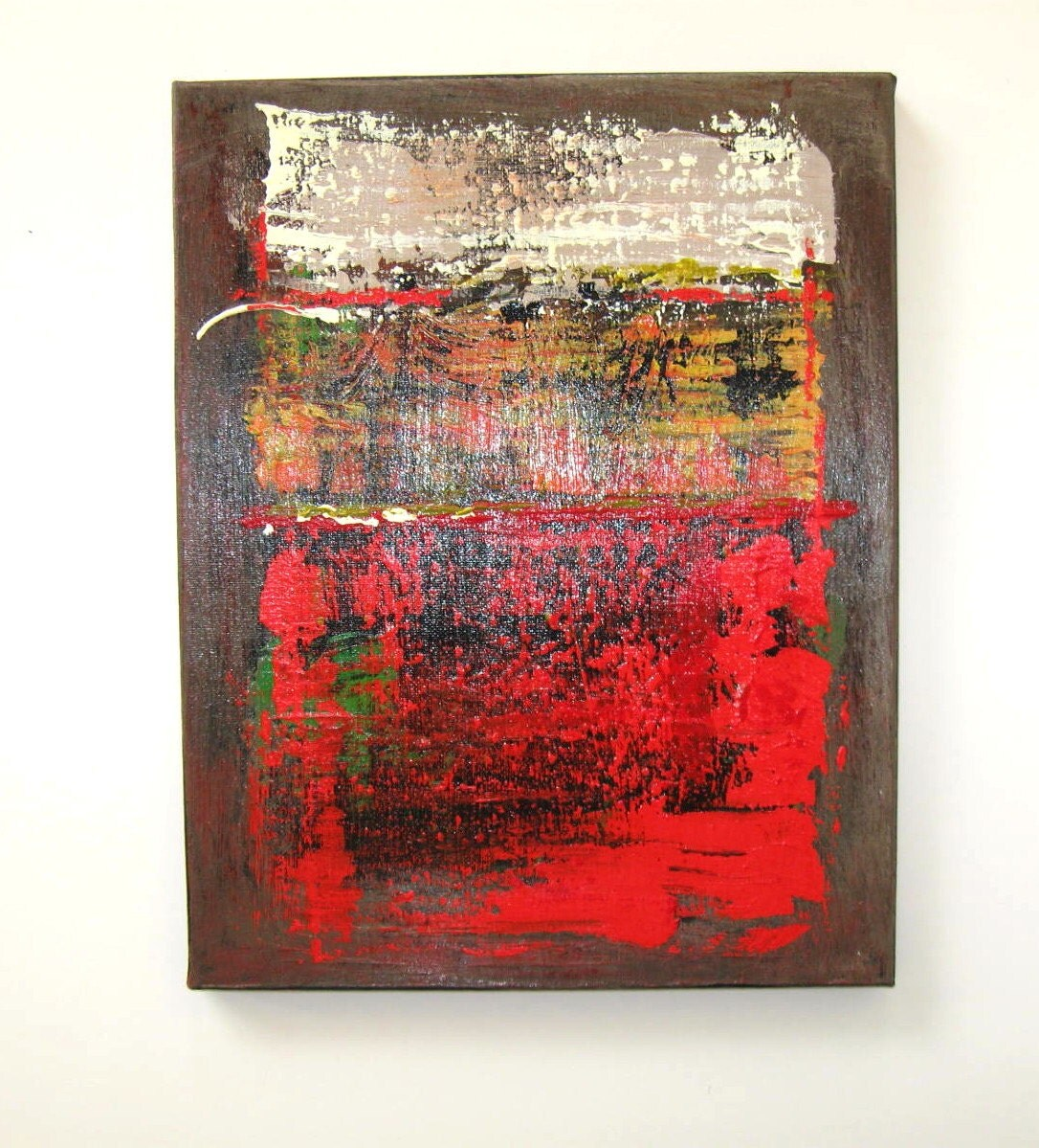 Red and brown original abstract painting acrylic on for Red wall art