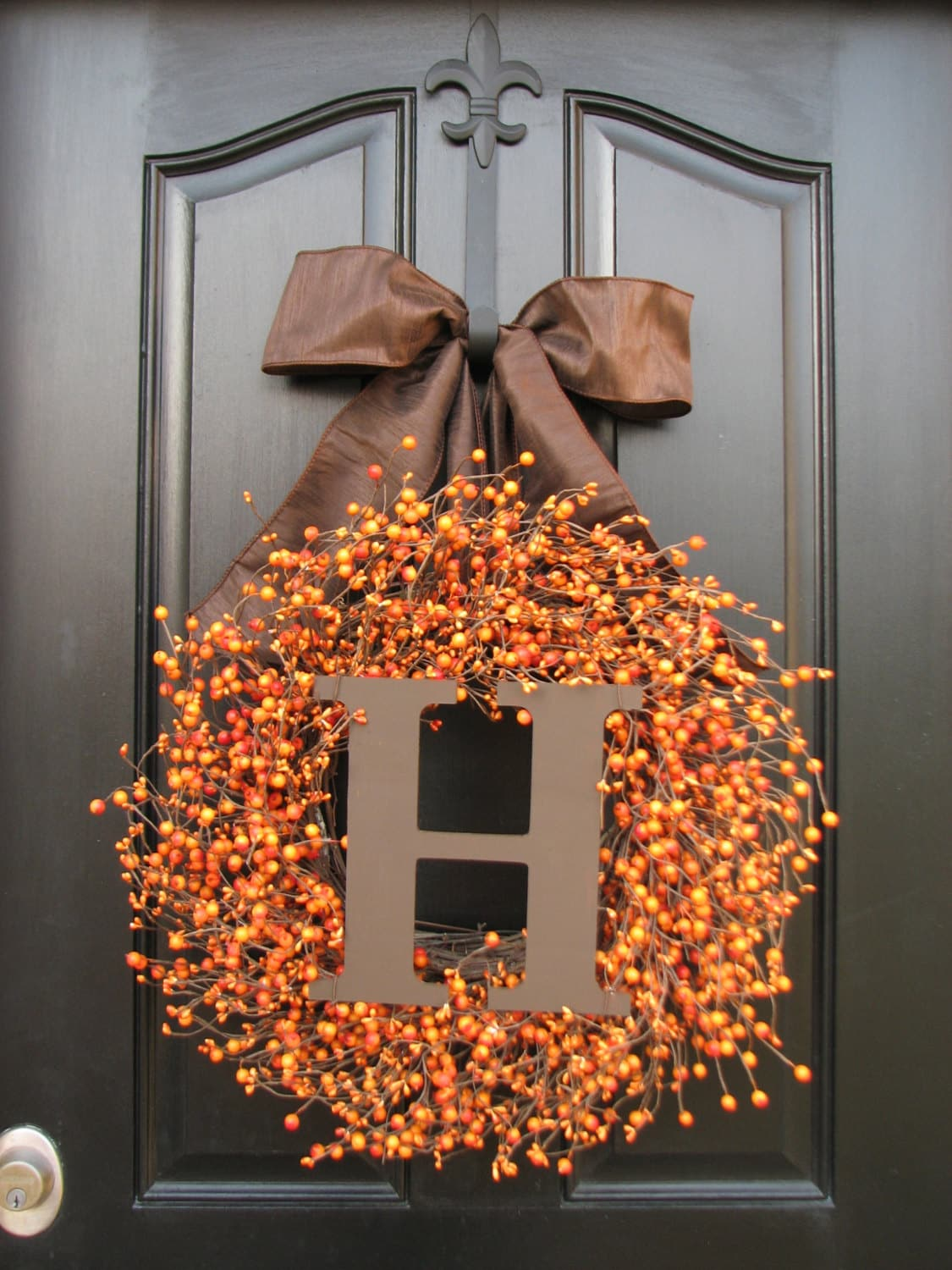 On sale monogram wreath personalized fall wreaths by twoinspireyou - Thanksgiving decorations on sale ...