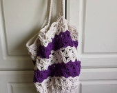 RESERVED Cotton crochet market bag in purple stripe