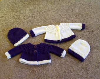 Hand Knitted - Plum with Cream Trim or Cream with Plum Trim Baby Sweaters