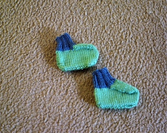 Hand Knitted - Baby Booties in Green with Blue Stripes or Blue with Green Stripes