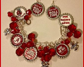 Alabama Crimson Tide Charm Bracelet & Earrings Unique Custom made Sports and Themed Jewelry nfl nba mlb nhl nsl NCAA Charm Bracelet Set