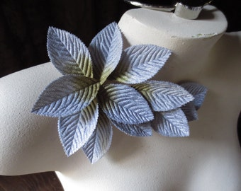 Velvet Leaves 12 LARGE in Silver Gray & Gold Ombre for Bridal, Boutonnieres, Headbands, Costumes, Crafts
