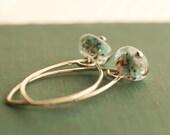 SPECKLED lampwork sterling silver earrings