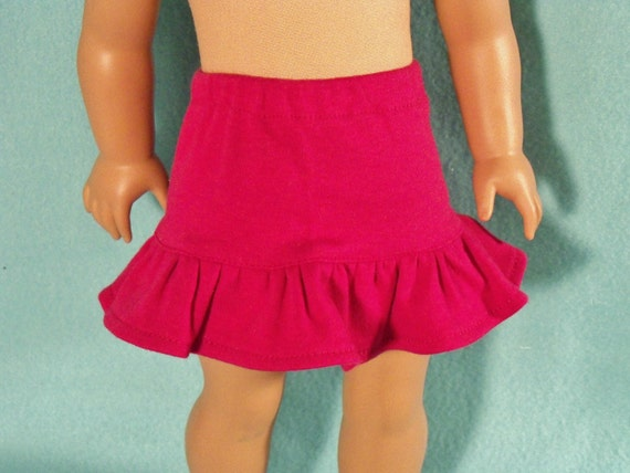 American Made 18 inch Doll Berry Knit Skirt with Ruffle