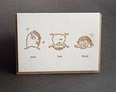 Exercise Hedgehog Letterpress Card