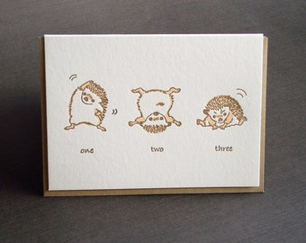 Exercise Hedgehog Letterpress Card