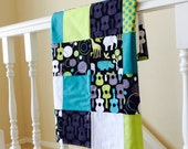 Groovy Guitars Patchwork Quilted Baby Blanket 2