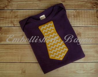 Appliqued Tie LSU Inspired Purple Onesie Monogram Optional