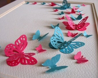 Deep Pink & Turquoise 3D Butterfly Art or YOUR Colour Choices. Butterfly Wall Art. 8x10 inches. Made to Order