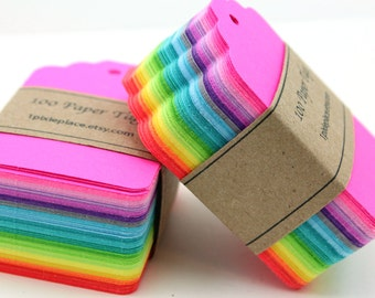 100 Paper Tags - Neon Brights