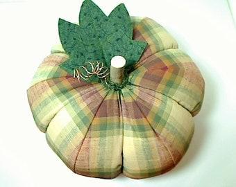 Size 12 | Fall Plaid Fabric Pumpkin | Thanksgiving Decor | Autumn | Fall Decor | Table Centerpiece | Handmade Gift | Kitchen Decor | # 9