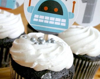 Printable 2 IN ROUND Vintage Robot cupcake toppers personalized for birthdays, showers, parties