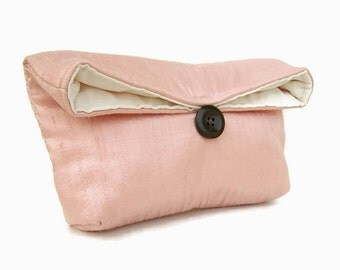 Bridesmaid Clutch, Ready to Ship Bridesmaid Gift Idea, Dusty Pink Clutch Purse, Vintage Pink Bridesmaid Gift, Wedding Party, Silk Clutch