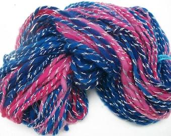 Hand spun Shetland wool  art yarn. Heavenly soft . African violets.