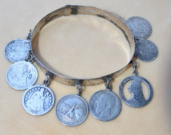 Victorian Sterling Silver Love Token Coin Bracelet 1890's