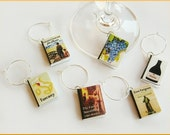 Set of all 6 Miniature Book Wine Glass Charms Wine Theme - New Year's Eve