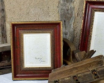 5x6 inch Antique Style Red and Gold Photo Frame for Wedding/Office Desktop/Family Photos 5x6 inch Image