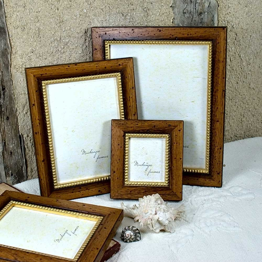 3x4 inch rustic brown wood and gold photo frame men office for Bungalow style picture frames