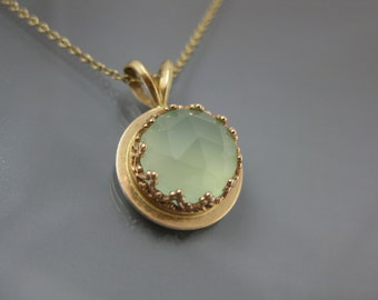 14k gold necklace with sea green chalcedony, recycled gold necklace, ornate pendant, 14k gold jewelry, eco-conscious jewelry, pale green
