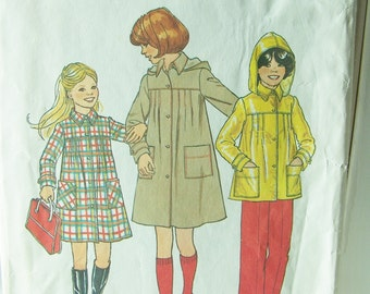 Simplicity 7948 Girl's Sewing Pattern, SALE, Girl's Jacket with Hood, Lined Coat, 70's Retro Simplicity Pattern Size 14, Vintage Pattern