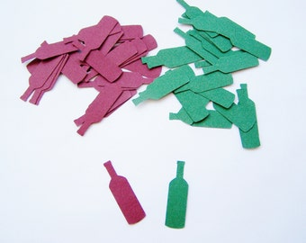 Die Cuts, Hand Punched, Burgundy and Dark Green Wine Bottle Confetti, Paper Embellishment, Girl's Night Out, Winetasting, Party Theme